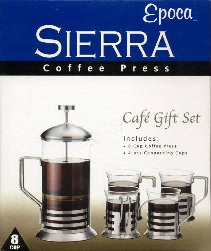 Sierra 8 Cup Coffee Press with 4 Cappuccino Cups Set by Epoca. $45.95