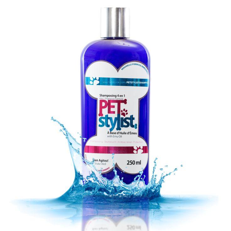 SHAMPOING PET STYLIST - Le shampoing Pet Stylist est un nettoyant doux et très hydratant par sa formule unique à l'huile d'émeu pure à 100% et aux huiles essentielles. Haut degré de pénétration et excellent émollient.  Tout indiqué pour les chiens présentant des symptômes de peau sensible, de peau sèche, de démangeaisons, d'inflammation, de rougeurs ainsi que des mauvaises odeurs qui s'en suivent.