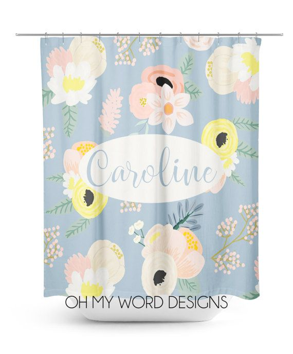 Personalized Shower Curtain-Watercolor by OhMyWordDesigns on Etsy