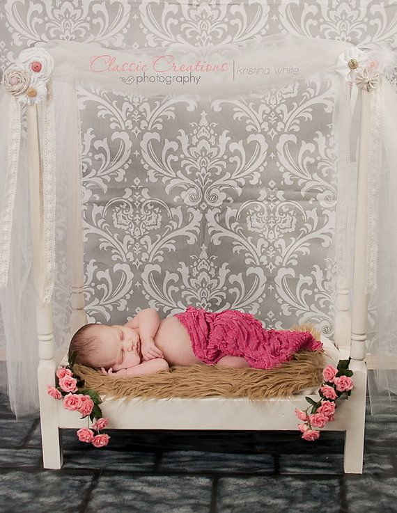 Newborn post or canopy bed photo prop or doll bed featured in modellife magazine