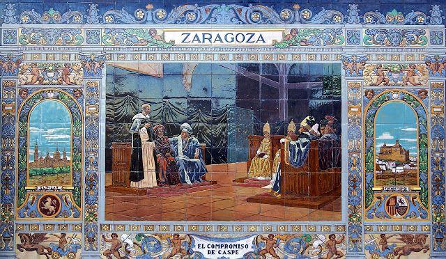 En la cerámica de Zaragoza se nos muestra el Compromiso de Caspe, pacto firmado en 1.1412 por los representantes de los Reinos de Aragón y Valencia, y el Principado de Cataluña, en el que se eligió como sucesor de Martín I de Aragón, que murió sin descendencia, a Fernando de Trastámara, infante de Castilla y nieto de Pedro IV de Aragón.