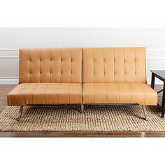 Abbyson Living Jackson Faux Leather Futon Sofa in Camel