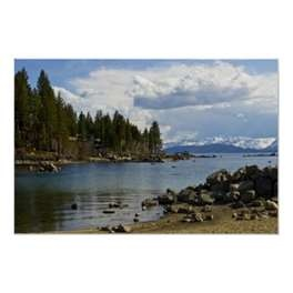Lake Tahoe, Nevada Cave Rock Beach Posters by HomePlanetImages