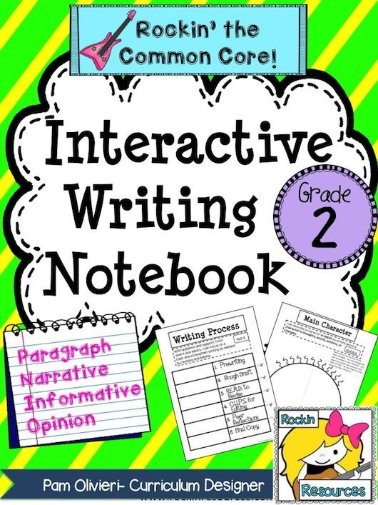 Interactive Writing Notebook for Grade 2.  Rockin the Common Core!  This Interactive Writing Notebook includes paragraph writing, narrative writing, opinion writing, and informative writing.  It has teaching slides, student printables, mentor texts, forms for goals, tracking, resources, rubrics, etc.  This Interactive Writing Notebook will effectively prepare your students in second grade!