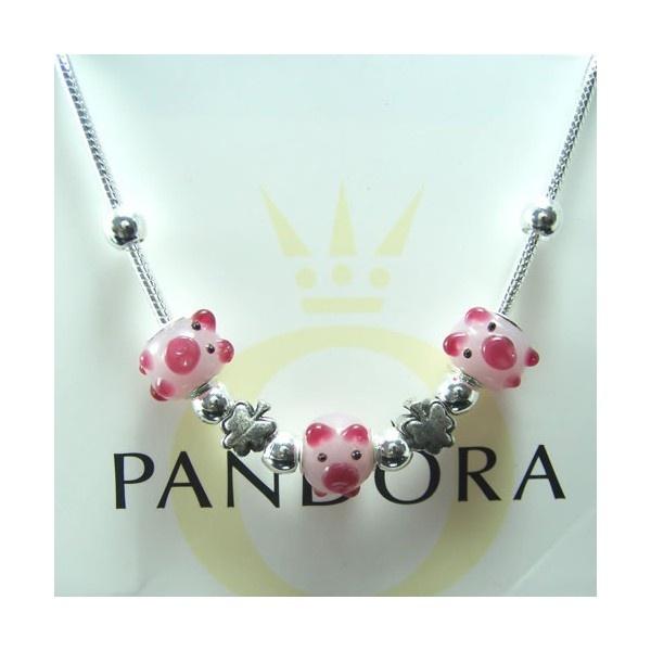pandora mini pig charm necklace - pink
