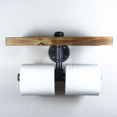 Style-industriel-fer-pipe-double-papier-toilette-titulaire-rouleau-avec-etagere-en-bois