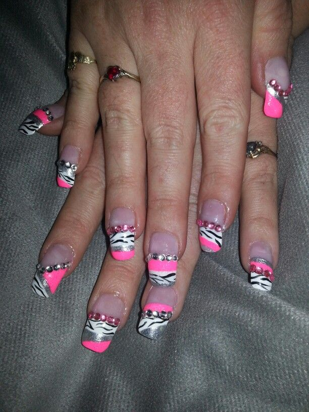 Rhinestones pink white black zebra silver french tip nail designs art - 7 Best Nail Designs Images On Pinterest Nails Design, French Tip