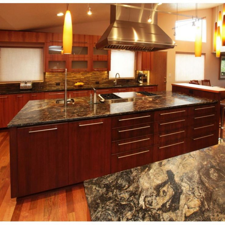 Dark Cherry Wood Cabinets Kitchen Color Ideas With Cherry: Choosing Granite Countertop Colors For Cherry Wood