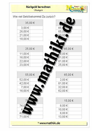 Rückgeld berechnen − Z5,00€ - ©2011-2016, www.mathiki.de - Ihre Matheseite im Internet #math #money #geld #euro #cent #arbeitsblatt #worksheet