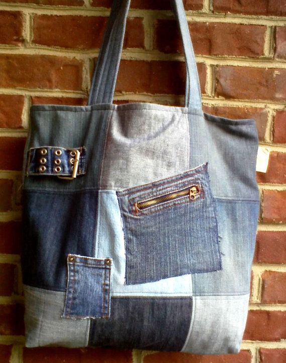 Denim+tote+bag+made+from+repurposed+denim+jeans++by+ripnrollrugs