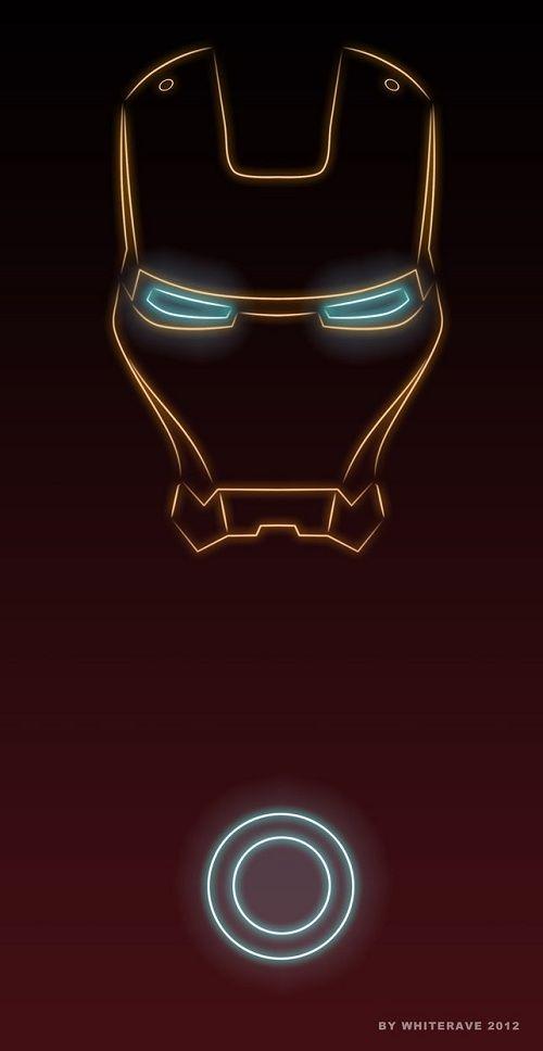 illustrator creates neon light superheroes iron man love this