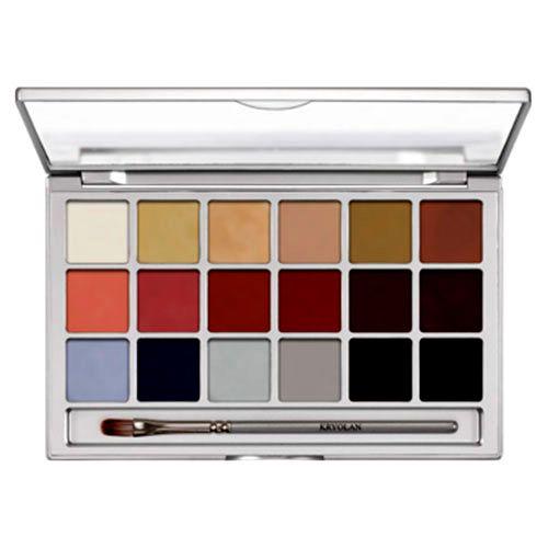 Ideal para diseños de teatro, efectos especiales o creaciones coloridas. La paleta incluye un pincel de pelo sintético. Presentación paleta de 18 colores (45 grs)