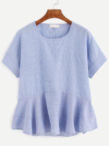 Blusa rayas verticales volantes - azul