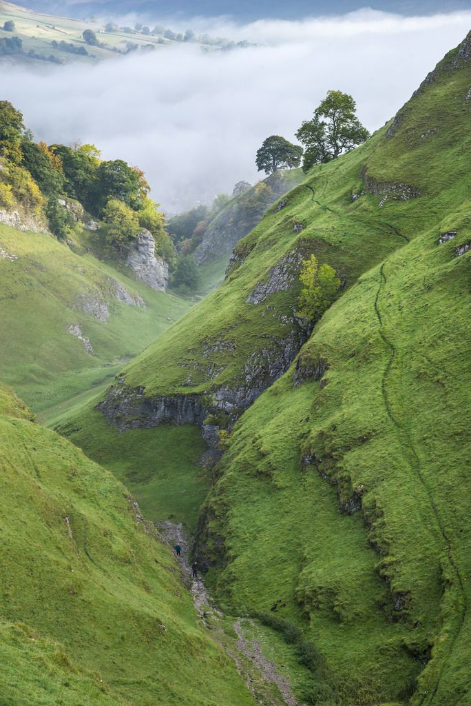 Autumn mist in cave Dale, Castleton, Derbyshire by Photos by R A Kearton on Getty Images