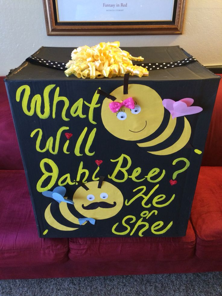 """""""What will it bee"""" gender reveal box 