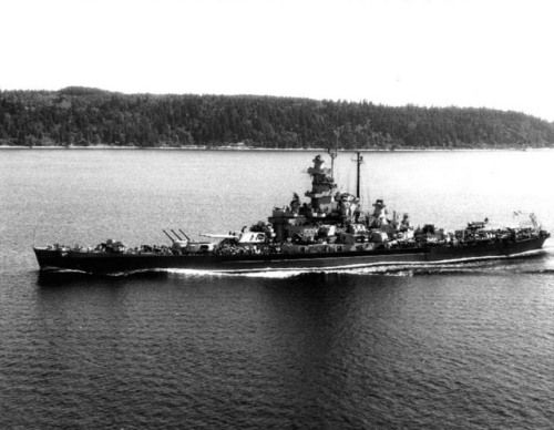 Battleship Massachusetts underway at 15 knots off Point Wilson, Washington, United States, 11 Jul 1944 Source United States Navy Naval History and Heritage Command Identification Code NH 97255