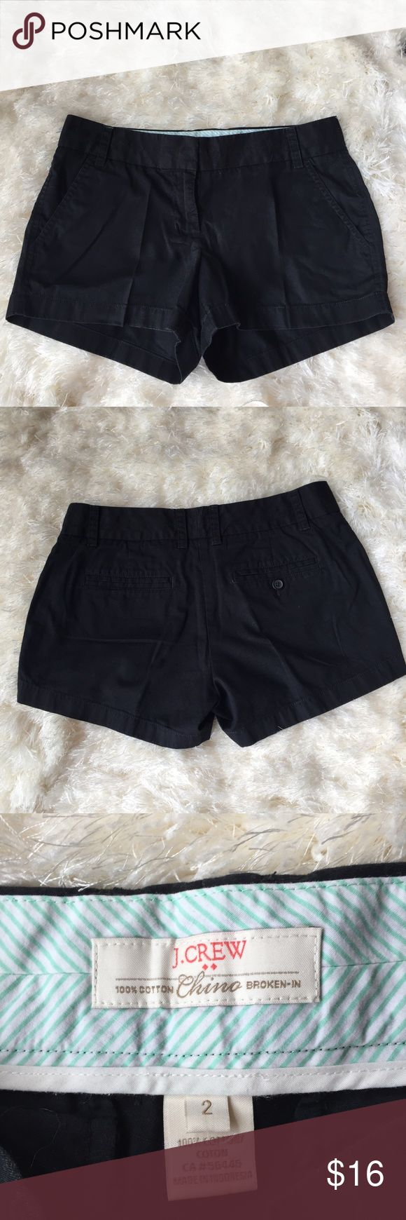"J.Crew black chino shorts size 2. Adorable black chino shorts. Size 2. Waist measures 30"",inseam is 3"".like new! J. Crew Shorts"
