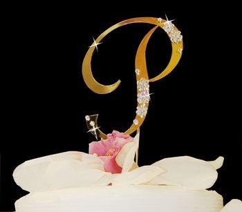 Large Gold Plated Crystal Initial Wedding Cake Toppers! affordableelegancebridal.com