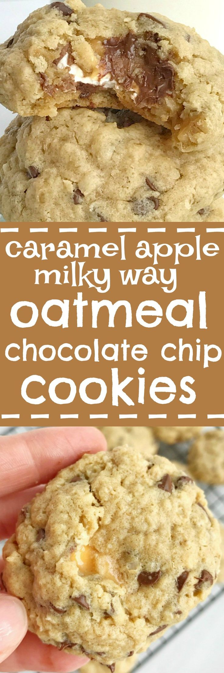 Caramel apple milky way oatmeal peanut butter chocolate chip cookies are three cookies in one! Oatmeal & peanut butter cookies loaded with chocolate chips and stuffed with a caramel apple milky way. These are the yummiest cookies I've ever had. You can't go wrong | togetherasfamily.com