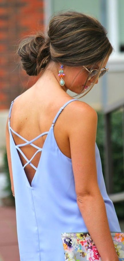 Forever 21 Tender Blue Criss Cross Strap V Back Cami by For All Things Lovely