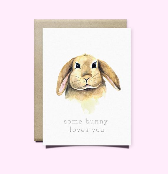Some Bunny Loves You Greeting Card | Valentine's Day Card | Birthday Card | Watercolor Card | Sweet Card