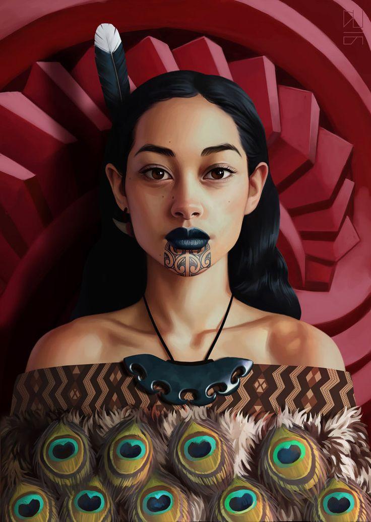 """Maori"" - Daniela Uhlig (Berlin, b. 1982) {figurative art illustration beautiful female head feathers native-american indian woman face portrait digital painting #loveart} danielauhlig.deviantart.com"