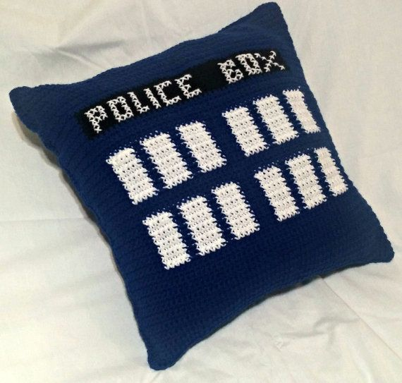 Crochet Police Box Pillow, TARDIS Pillow, Doctor Who Pillow, Crochet Pillow Cover, Throw Pillow Case