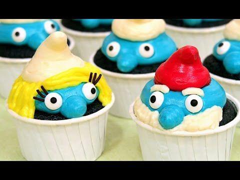 Cupcakes de Los Pitufos - Blue Velvet (Esponjosos y Deliciosos) - YouTube