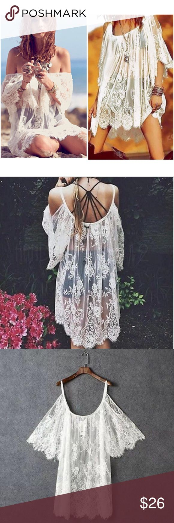 White Boho Lace Swimsuit Coverup NWOT Boho off the shoulder swimsuit coverup. Delicate, sheer lace like material. chic and stylish at the beach or pool party! Can be Worn as a dress with a slip or tank for a layered look. True white. No trades simply sales only Boutique Swim Coverups