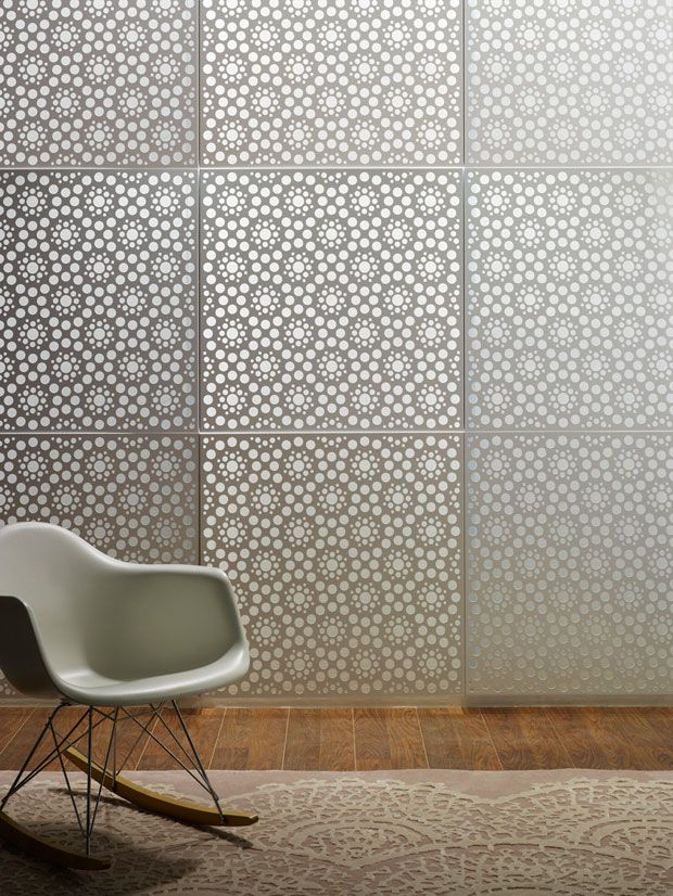 "Perforated aluminium ""lace"" screen by Rina Bernabei and Kelly Freeman, Australia."