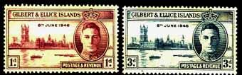 Gilbert and Ellice Islands 1946 King George VI Victory Set Fine Mint SG 55 56 Scott 52 53 Stamps For Sale £0.25