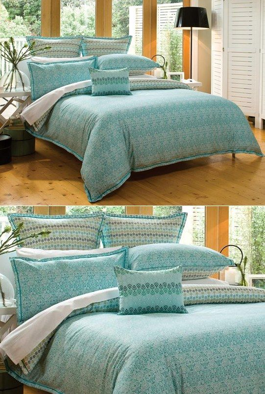 Teal bed cover