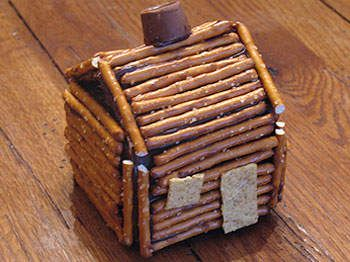 pretzel Lincoln log cabin.