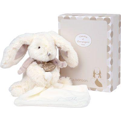 Doudou et compagnie Peluche bébé pantin avec doudou lapin bonbon taupe