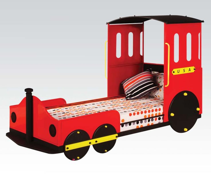 Modern Red Train Style Youth Bed