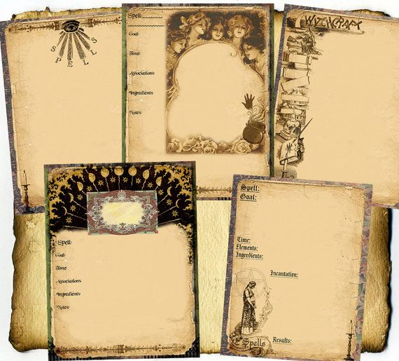 Witchcraft Spell Pages 5pc Set - Digital Download - Book of Shadows, Grimoire, Scrapbook, Wiccan, Occult