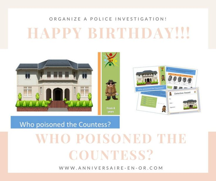 "Discover our treasure hunt ""Who poisoned the Countess?"". A turnkey game, ready to print and play, perfect designed for organizing a birthday party. www.anniversaire-en-or.com/en/ #party #kids #birthday #treasurehunt #investigation #mystery #game #detective"