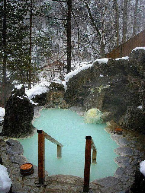 Hot springs. Onsen, Japan.. Spa pool in the winter = Bliss