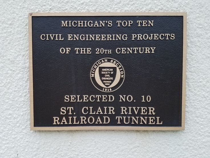 Michigan Top Ten Civil Engineering Projects of the 20th Century, Selected Number 10, St Clair River Railroad Tunnel, historic marker from American Society of Civil Engineers, located at Amtrak Station on 16th Street Port Huron Michigan