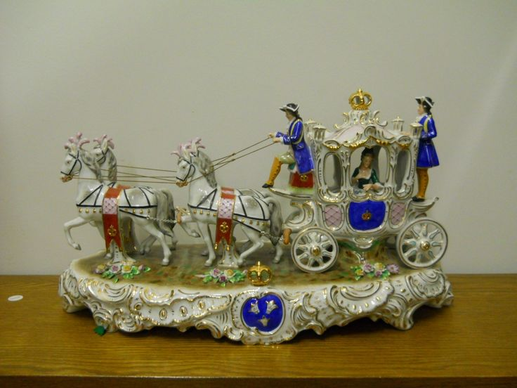 Antique Dresden Sitzendorf Horse Carriage Figurine Figural Group | eBay