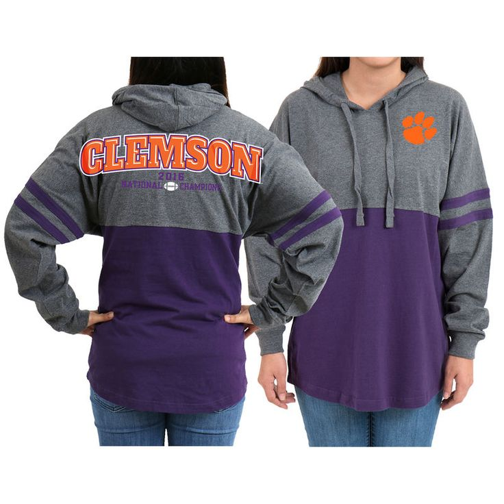 Clemson Tigers Women's College Football Playoff 2016 National Champions Hooded Pom Pom Jersey - Gray/Purple