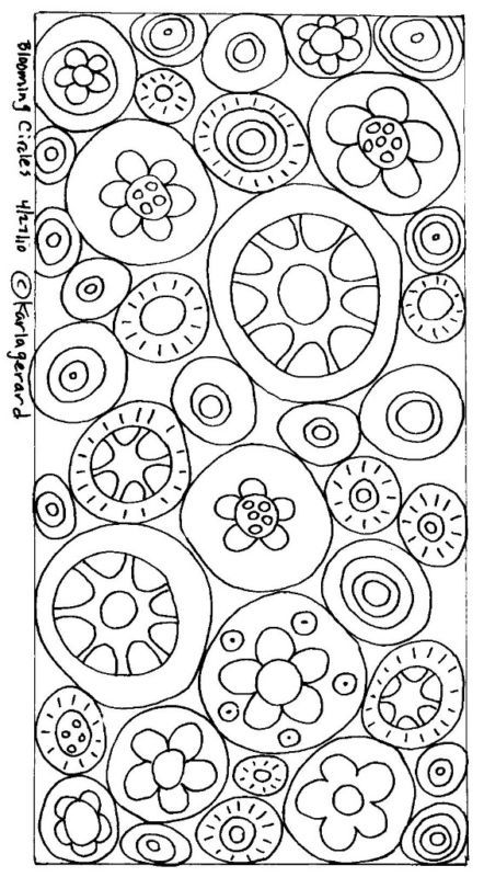RUG HOOK PAPER PATTERN Blooming Circles FOLK aRT KarlaG | eBay Also doodling pattern