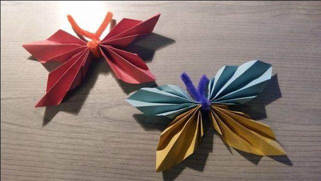 Pillangók  Eszköz: négyzet alakú origami hajtogatólap, (fél) zseniliaszál