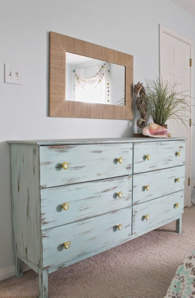 Dresser Magnificent Beach Themed Bedroom Aqua Painted Unfinished