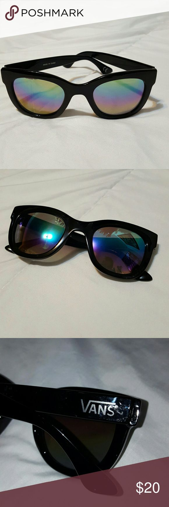 Vans sunnies Oil slick color lenses. Black frames. Good shape. Slight defect, as shown in 3rd picture, no other flaws!! Fresh n cool! Vans Accessories Sunglasses