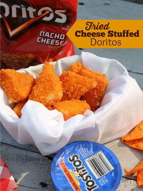 This Fried Cheese Stuffed Doritos Recipe makes a perfect party appetizer, game day food or anytime awesome snack. It's super cheesy and delicious!