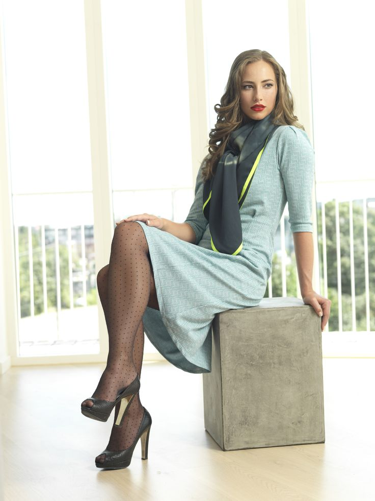 Beautiful Nynne dress in mint with a petrol tie scarf with neon edges. In stores from November 2014