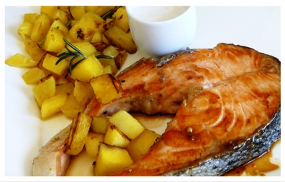 Honey pepper salmon with coconut mango | I Seafood, I Eat It | Pinter ...