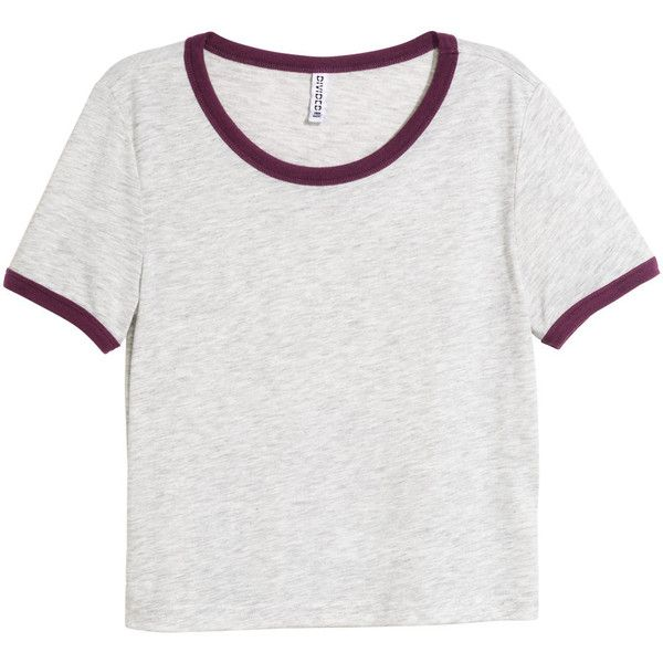 H&M Crop top ($11) ❤ liked on Polyvore featuring tops, t-shirts, shirts, crop tops, grey, h&m t-shirts, gray crop top, grey shirt, shirts & tops and sleeve t shirt