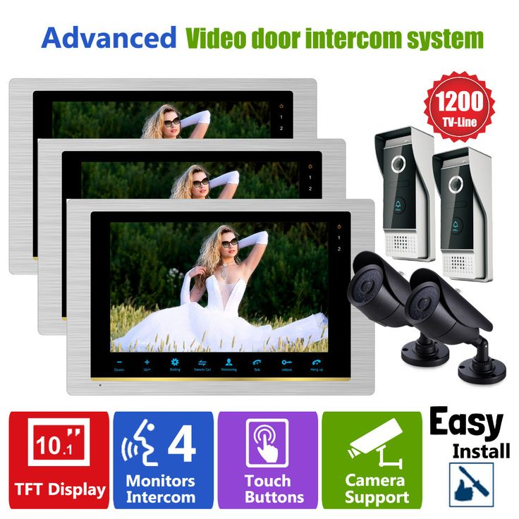 Homefong 10 INCH HD 1200TVL Video Pintu Telepon Sistem Interkom Bel 3 xMonitor 2x depan pintu kamera dan 2x keamanan kamera